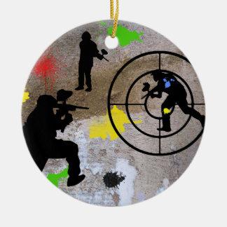 Guerrilla urbana Paintball Adorno Navideño Redondo De Cerámica