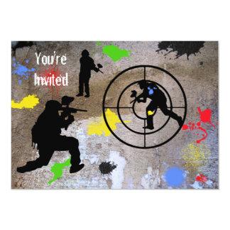 "Guerrilla urbana Paintball le invitan Invitación 5"" X 7"""