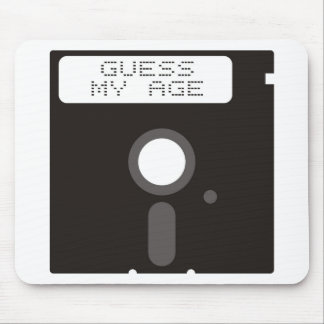 Guess my age. Funny old computer floppy disk Mouse Pad