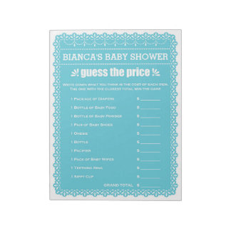 Guess The Price Blue Papel Picado Baby Shower Notepad