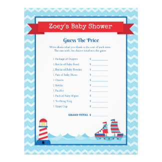 Guess The Price Game Nautical Theme Baby Shower Letterhead