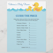 Guess The Price Game Rubber Duck Baby Shower