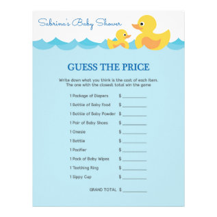 Guess The Price Game Rubber Duck Baby Shower Letterhead at Zazzle