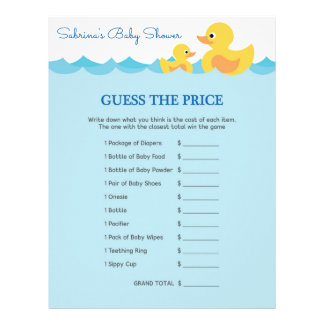 Guess The Price Game Rubber Duck Baby Shower Letterhead