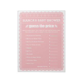 Guess The Price Pink Papel Picado Baby Shower Notepad