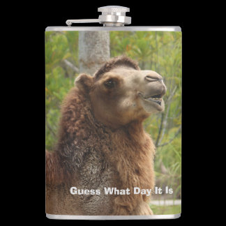 Guess What Day Camel Funny Quote Personalized Hip Flask