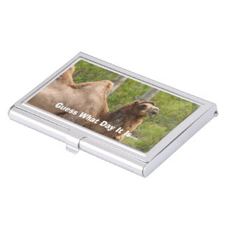 Guess What Day It Is Camel Funny Quote Business Card Case