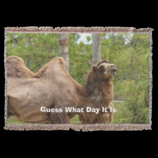 Guess What Day It Is Camel Funny Quote Throw Blanket