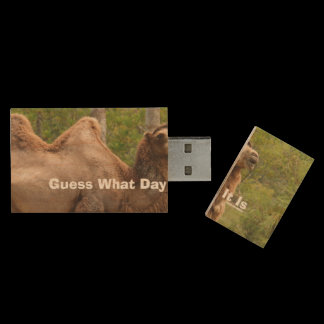 Guess What Day It Is Camel Funny Quote Wood USB Flash Drive