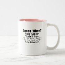 Guess What? Lung Cancer awareness Two-Tone Coffee Mug