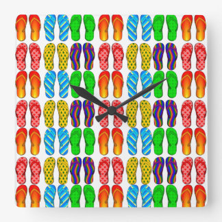 Guess What Time It Is Colorful Beach Flip Flops Wall Clock