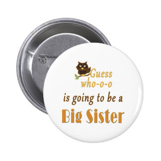 Guess Who Big Sister Owl Brown Pinback Button