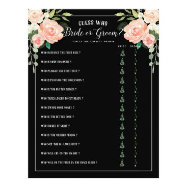 Bride Themed Guess Who Bride or Groom Bridal Shower Game Black Flyer