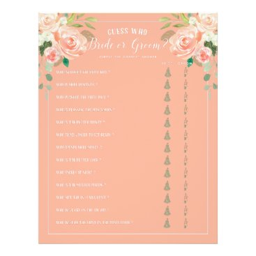 Bride Themed Guess Who Bride or Groom Bridal Shower Game Peach Flyer
