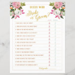 """Guess Who Bride or Groom Shower Game Gold Pink<br><div class=""""desc"""">Blush pink and white florals with rose gold text. Customize brides name and shower date on the back. Don&#39;t want to print your own bridal shower games, Use these flyers instead. Order quantity as needed; Bridal Shower Game &quot;Guess Who Bride or Groom&quot; with victorian ladies and gents. The gorgeous painted...</div>"""