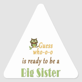 Guess Who Ready Big Sister Owl Triangle Sticker
