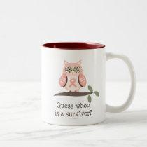 Guess Whoo Survivor Pink Ribbon Owl Mug