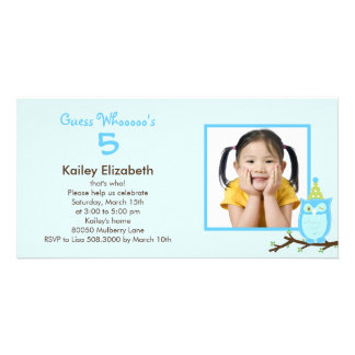 Guess Whooo? Photo Birthday Party Invitation -Blue