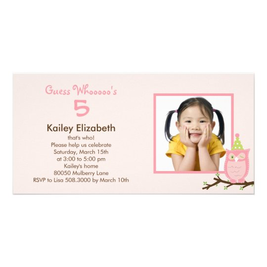 Guess Whooo? Photo Birthday Party Invitation -Pink
