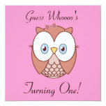 """Guess Whoooo's , Turning One? 5.25"""" Square Invitation Card"""