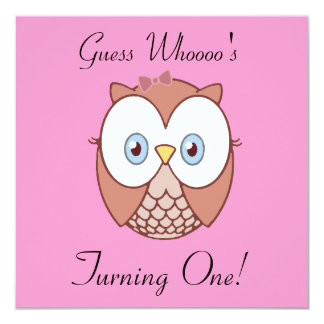 Guess Whoooo's , Turning One? 5.25x5.25 Square Paper Invitation Card