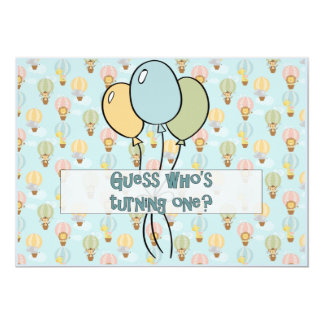 Guess Who's Turning One, Animal Balloon for Boy Card