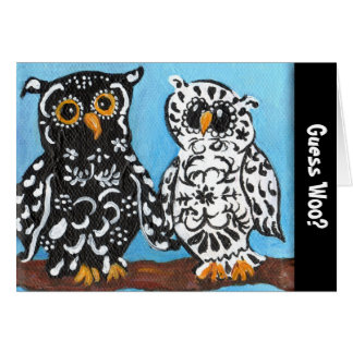 Guess Woo Black & White Damask Owls Card