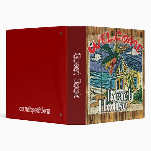 Guest book -  beach house notebook 3 ring binders