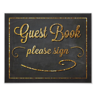 Guest Book Chalkboard and Gold Glitter Sign Poster
