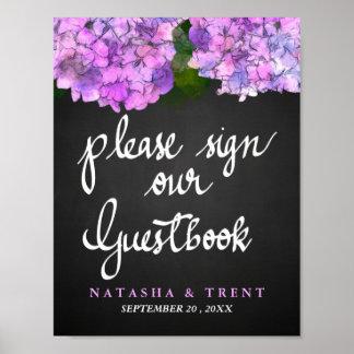 Guest Book Chalkboard Wedding Hydrangea Floral Poster