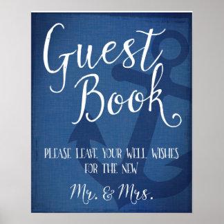 Guest book nautical wedding anchor sign