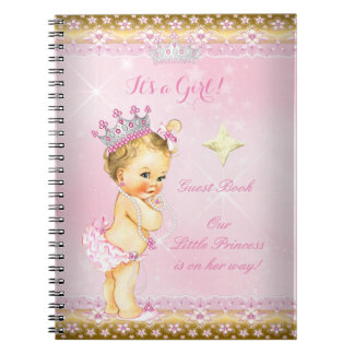 Guest Book Princess Baby Shower Pink Blonde Girl