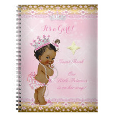 Guest Book Princess Baby Shower Pink Ethnic Girl