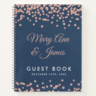 Wedding Themed Guest book Rose Gold Glitter Confetti Navy Blue