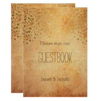 Guest Book Sign - Gold Confetti Vintage Wedding Card