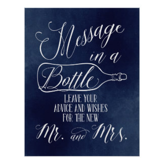Guest Book sign - Message in a bottle - Navy