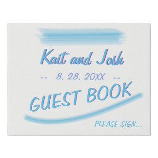Guest Book Sign Minimalist Soft Ambiance Blue
