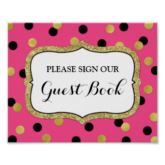Guest Book Sign Pink Black Gold Confetti