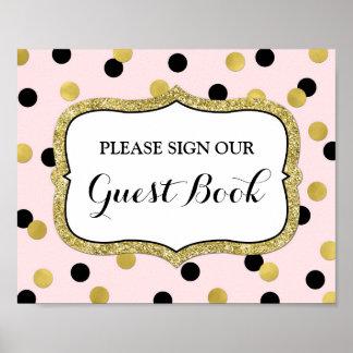 Guest Book Sign Pink Black Gold Confetti