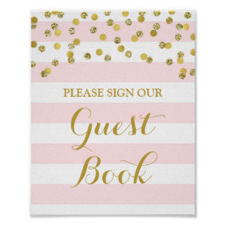 Guest Book Sign Pink Stripes Gold Confetti Poster