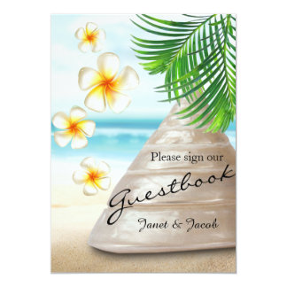 Guest Book Sign - Wedding on the Beach Wood Card