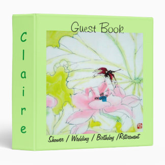Guest Book w Delicate Chinese Image in Green Motif Vinyl Binders