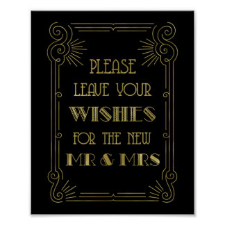 Guest Book Wedding Sign Gold Black 1920s Poster