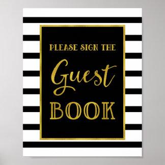 Guest Book Wedding Sign Gold Black Stripes Poster