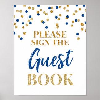 Guest Book Wedding Sign Gold Blue Confetti