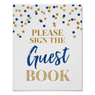 Guest Book Wedding Sign Gold Blue Confetti Poster