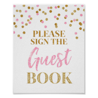 Guest Book Wedding Sign Gold Pink Confetti Poster