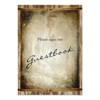 Guest Book Wedding Sign - Nautical Wood Card