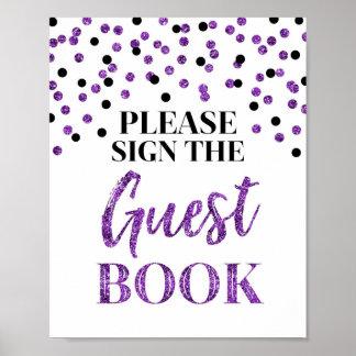 Guest Book Wedding Sign Purple Black Confetti