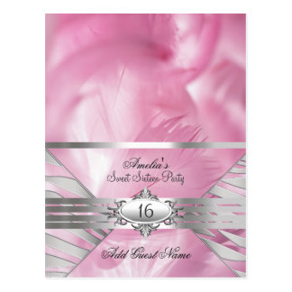 Guest Name Cards Pink Sweet 16 Postcard